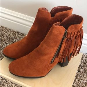 Closed toe boho fringe ankle boots bootie